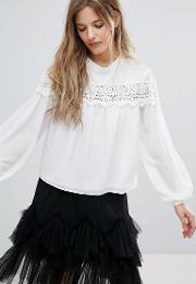 Long Sleeve Blouse With Lace Trim