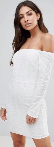 Long Sleeve Off Shoulder Embroidered Dress