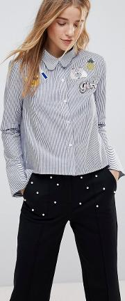 Scallop Collar Stripe Shirt With Patches