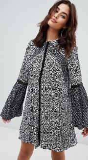 Lilith Tile Print Mini Dress With Trumpet Sleeves