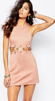 x rok & rebelle mini dress with lace up detail