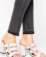 Buckle Strappy Mid Heeled Mules