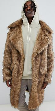 heavyweight faux fur coat in natural