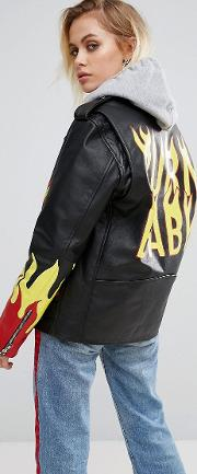 Black Label Premium Leather Jacket With Handpainted Flames
