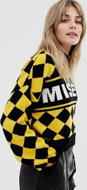 Cropped Knitted Jumper With Diamond Design And Slogan