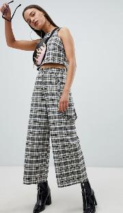 cropped wide leg trousers in check