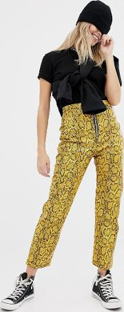 Faux Leather Snakeskin Trousers
