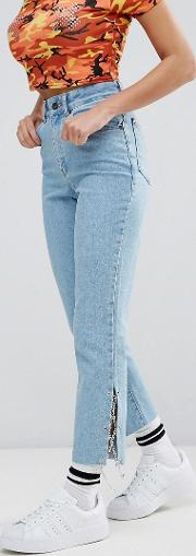 Mom Jeans With Lace Up Chain Sides