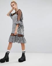 oversized mesh dress with gingham trims