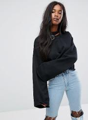 Oversized Sweatshirt With Choker Ring And Wide Sleeves