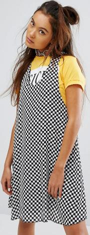 racer back mini dress with metal ring  checkerboard