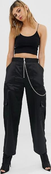 Satin Combat Trousers With Chain