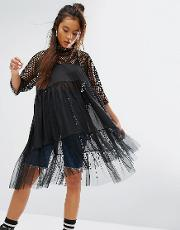 Sheer Smock Dress With Mesh & Fishnet Tiers
