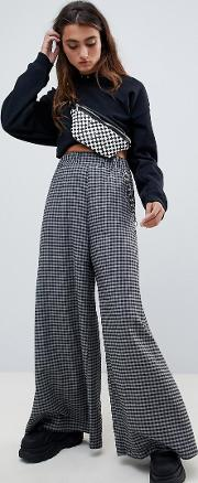 wide leg trousers in check