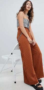 wide leg trousers with chain detail