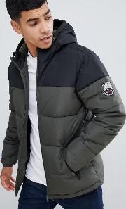 Panelled Puffer Jacket With Hood