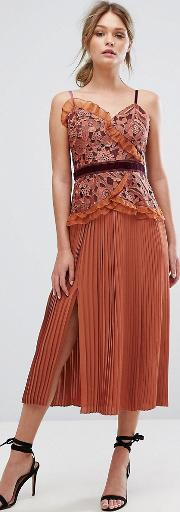 Cami Strap Midi Dress With Lace And Pleated Skirt