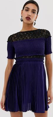 Pleated Mini Dress With Lace Inserts