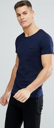 crew neck t shirt with raw edge in navy