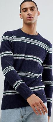 knitted jumper in boucle wool mix with stripe