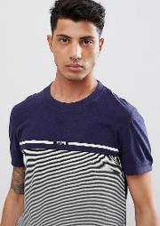 t shirt with fine stripe  blue