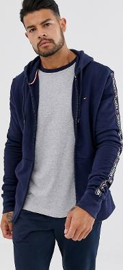 Authentic Full Zip Lounge Hoodie With Side Logo Taping