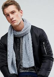 Cashmere Mix Scarf In Grey Heather
