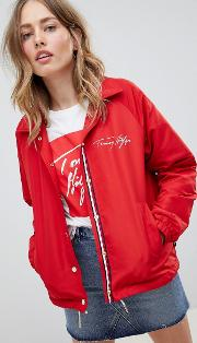 coach jacket with scribble logo