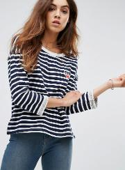 Heart Emblem Striped Sweater