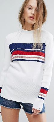 high neck striped knit jumper
