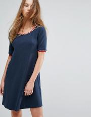 Ribbed Dress With Contrast Collar