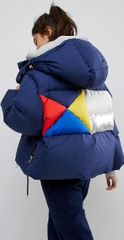 down jacket with colourblock back detail