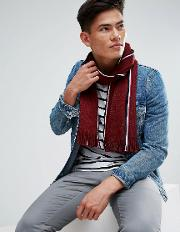 Edge Stripe Scarf Raschel In Wine Red