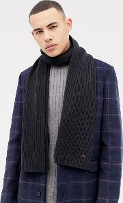 pima cotton cashmere scarf in black
