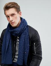 Textured Knit Scarf In Navy