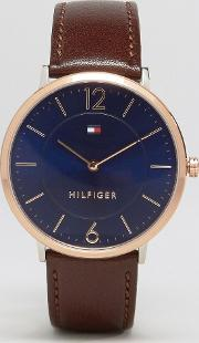 Ultra Slim Brown Leather Watch With Gold Dial 1710354
