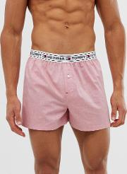 Woven Boxer Shorts With Contrast Flag Logo Waistband