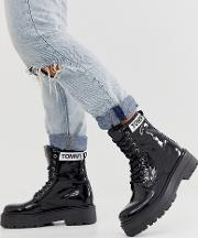 Patent Leather Lace Up Boot