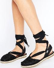 moroccan crochet 2 part espadrilles black