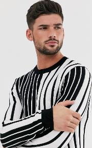 Jumper With & White Vertical Stripe
