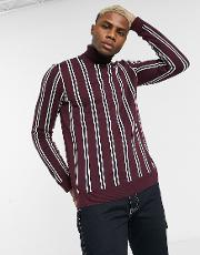 Roll Neck Jumper With Vertical Stripe