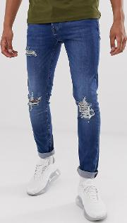 Skinny Jeans With Rips Dark Wash