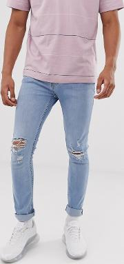 Super Skinny Jeans With Rips Wash