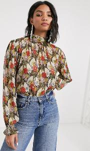 Blouse With Gathered Neck