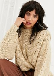 Cable Knit Jumper With Bold Sleeve