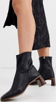 Leather Heeled Boots With Square Toe