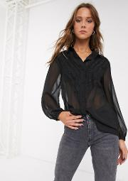 Shirt With Lace Panel