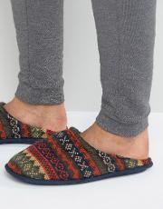 Fairisle Mule Slipper In Red