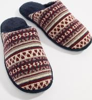 Mens Fairisle Knit Mule Slippers