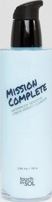mission complete waterproof sensitive lip & eye perfect cleanser 100ml